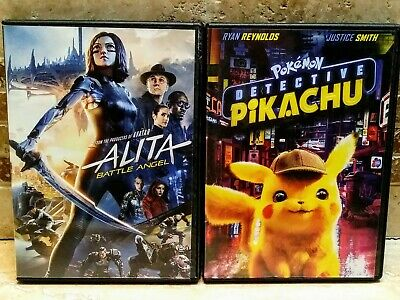 DVD Movie Lot- Alita Battle Angel & Pokemon Detective Pikachu (Ryan Reynolds)