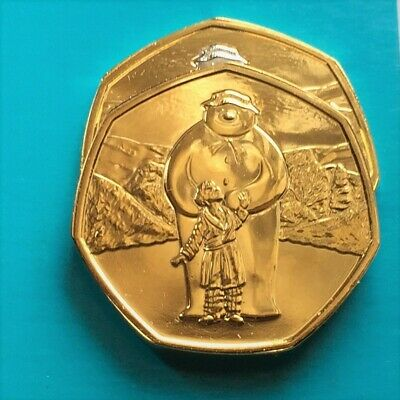 2019 The Snowman 50p BU Fifty Pence Gold Plated Coin