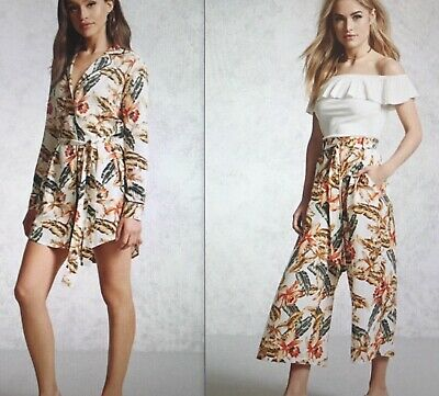 Forever 21 Set Floral Tropical Print Co-ord Shirt Pants Dress zara missguided M