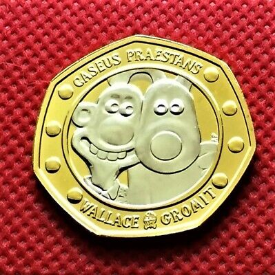 2019 UK Wallace and Gromit CERTIFIED BU 50p With Rhodium plus C.O.A