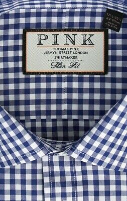 Thomas Pink 17.5 L Navy Blue Gingham Check Slim Fit Shirt Button Cuff RRP £89.99