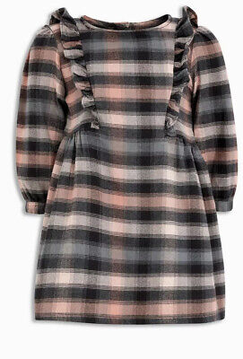 Next Girls Grey And Pink Check Dress Size 4-5 Years