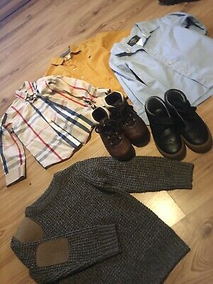 Bundle Boys Clothing Fit 4-5 Timberland Boots 11  M&s 11 Shirts H&m Burberry 3-4