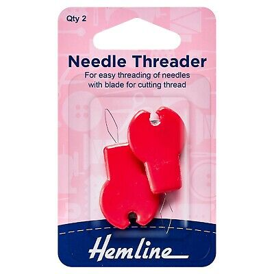 Hemline Needle Threaders With Cutter - 2 Pack In Red - For Hand Sewing - H237