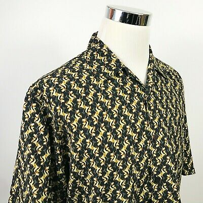 Jhane Barnes Mens Large Silk Blend Lounge Shirt Unique Abstract Black Gold