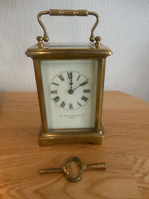 Vintage Brass Carriage Clock by Sir John Bennett Ltd Paris - Works Well - with k