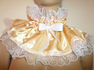 Adult Baby Frilly  Gold  Satin   Sissy Collar  White Lace Trim Satin  Bows