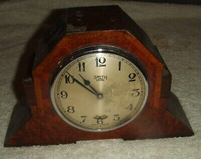 Smith Sectric Art Deco Electric Mantel Clock With Burr Walnut Effect Case.