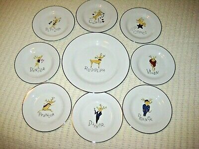 Pottery Barn 8 New Reindeer Salad Plates & 1 Rudolph Serving Platter Charger