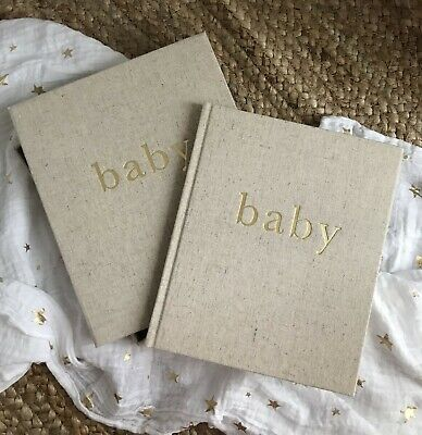 Linen Baby Journal- with Matching Linen Storage Box