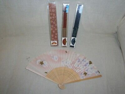 Collectible Silk Chinese Hand  Fans X 4  - 22Cm - Unused