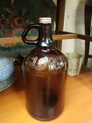 Vintage 1940s Amber Glass Clorox Bottle