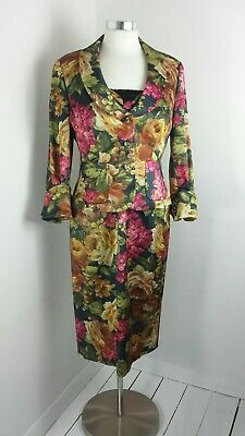 Ispirato Mother Of The Bride Dress Jacket Suit Races Pink Floral Orange Multi 14
