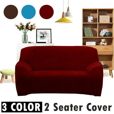 2 Seater Sofa Cover Soft Stretch Plush Velvet Slipcover Protector Couch Recliner