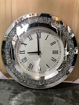 Diamond Crush Crystal Large Sparkly Mirrored Circle Wall Clock- SILVER 46x46x5cm