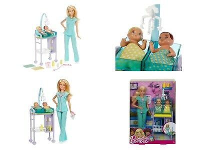 New in Box Barbie Careers Baby Doctor Playset w 2 baby patients – Free Shipping