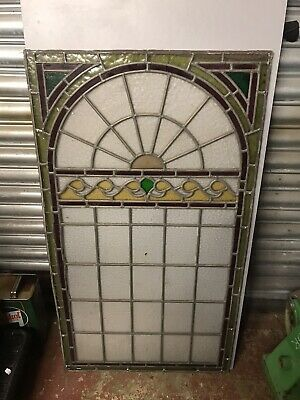 Large Vintage Leaded Stained Glass Panel Antique Stained Glass Window