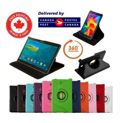 """Leather Rotating Stand Case for Samsung Tab 3 4 S S2 A E 7"""" 8"""" 9.7"""" 10.1"""" 10.5"""""""
