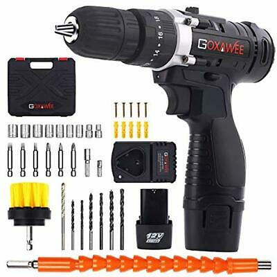 Cordless Drill with 2 Batteries - Electric Screw Driver Set 100pcs for DIY NEW