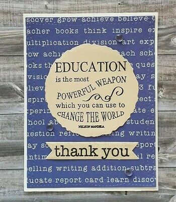 Handmade Thank You Teacher Card From Parent or Student Prep Primary Kindy School