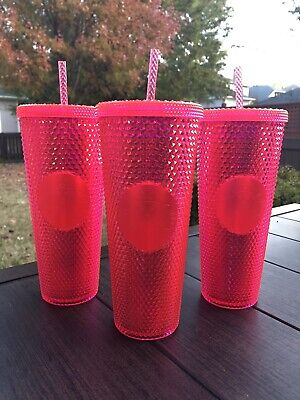 """STARBUCKS Neon Pink Studded Tumbler WINTER HOLIDAY CUP 2019 24oz. """"NEW"""""""