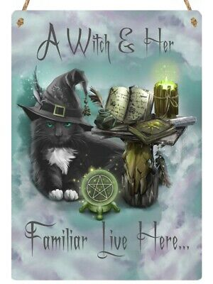 Hanging Metal Sign - 15cm x 20cm - Black Cat - A Witch & Her Familiar Live Here