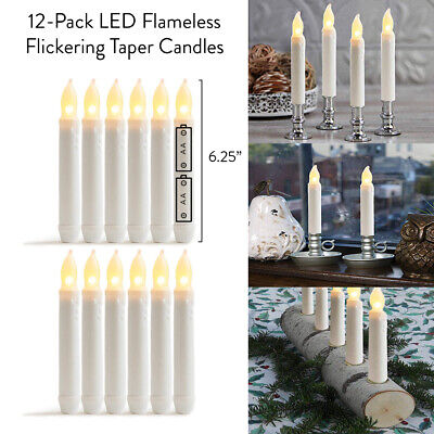 """12-Pack LED Flameless Flickering Taper Candles-6.25"""" Warm White Battery Operated"""