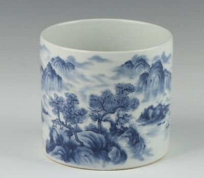 Chinese Antique Blue And White Porcelain Painting Brush Pot