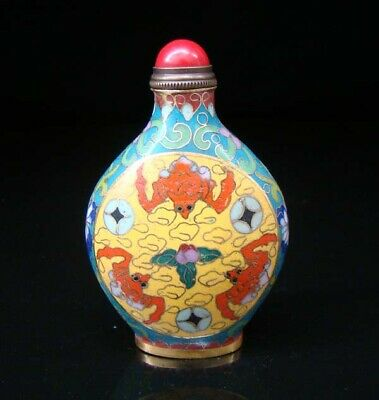 Collectibles 100% Handmade Painting Brass Cloisonne Enamel Snuff Bottles 053