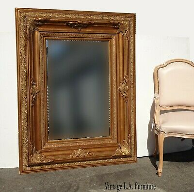 """Large 55""""Tall Vintage French Provincial Gold Ornate Wall Mantle Mirror"""