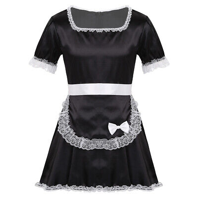 Sexy Men Sissy French Maid Satin Frilly Crossdrssing Dress Costume Apron Costume