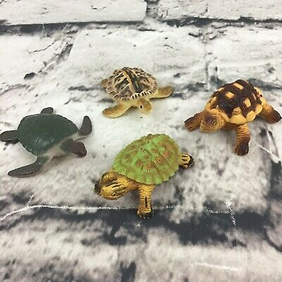 "Turtle Mini Figures Lot Of 4 2"" Sea Snapping Tortoises Detailed Realistic Toys"