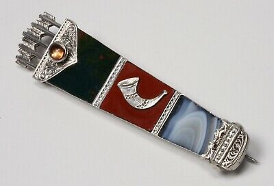 Victorian Scottish Sterling Quiver Brooch  Circa1874 - Bloodstone, Agate, Jasper