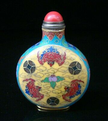 Collectibles 100% Handmade Painting Brass Cloisonne Enamel Snuff Bottles 023