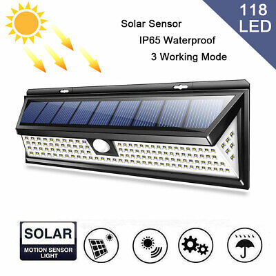 5000LM 118LED Solar Power PIR Motion Sensor Wall Security Lamp Garden Outdoor RF