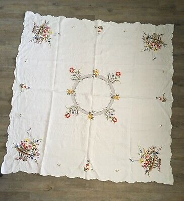 Vintage Linen Embroidered Tablecloth Square