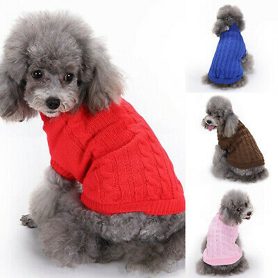 UK Fashion Knitted Puppy Dog Jumper Sweater Pet Clothes For Small Dogs Coat UK