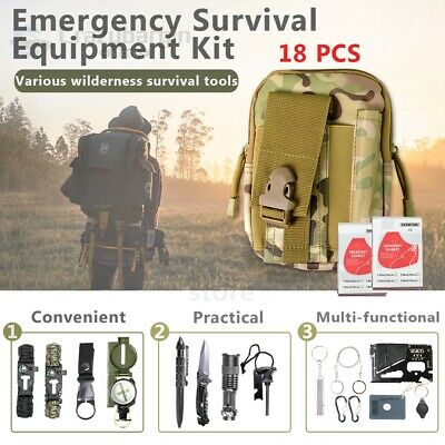 18X Emergency Survival Equipment Kit Outdoor Sports Tactical Hiking Camping Tool