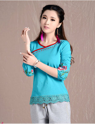 New Chinese Embroidery Vintage Womens Cotton Long Sleeve T-shirt Folk Top Blouse