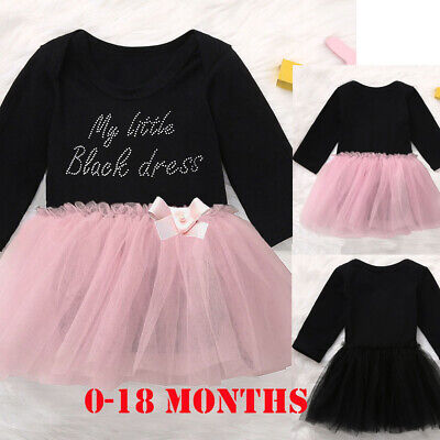 Newborn Infant Baby Girl Dress Tutu Romper Bow Dress Bodysuit Outfits Clothes UK