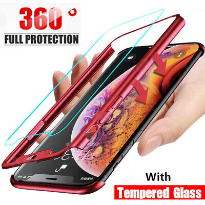 360° Full Cover Hybrid Case+Tempered Glass For iPhone 11 Pro Max XS XR X 8 7 6