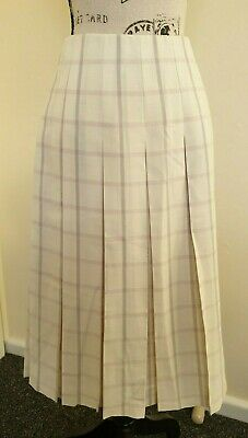 Vintage 1980s Fletcher Jones Cream Plaid Wool Blend Pleated Skirt