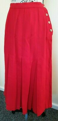 Vintage 1970's Sportscraft Red Pure Wool Pleated Skirt