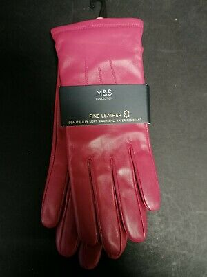 BMWT M&S Pink Ladies Fine Leather Gloves Lovely & Soft Warm & Water resistant M