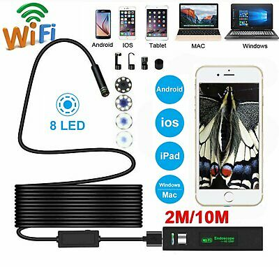 8 LED 1200P WiFi Endoscope Borescope Inspection Camera IP68 for iPhone Android