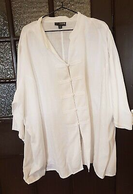 My Size White Linen  Chinese Jacket / Shirt