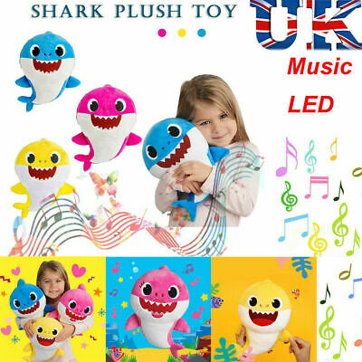 Baby Shark Plush Singing Toys LED&Music Doll English Song Toy For Kids Gift Boy