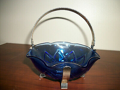 Old Very Collectible Cobalt Blue Glass Dish With Metal Holder--Nut Dish/Bowl ??