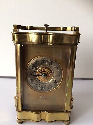 Antique FRENCH BRASS REPEATER CHIMES CARRIAGE CLOCK E.White 32 Haymarket London