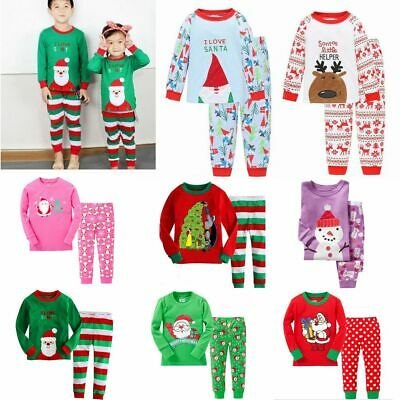Boys Girls Kids Christmas Xmas Santa PJs Pyjamas Outfit Long PJ Gift Cotton 1-7Y